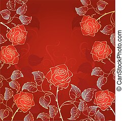 golden red roses - artistically drawn, contour, golden red...