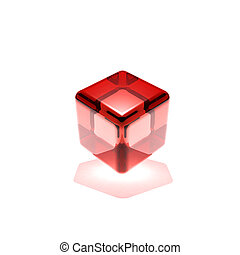red glass cube rotated