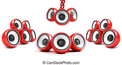 red stylish high-power futuristic audio system