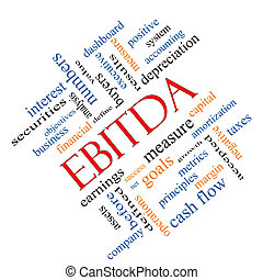 EBITDA Word Cloud Angled Concept with great terms such as...