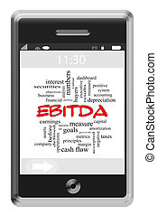 EBITDA Word Cloud Concept on a Touchscreen Phone with great...