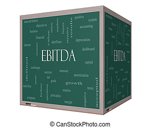 EBITDA Word Cloud Concept on a 3D cube Blackboard with great...