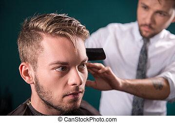 profesional, peluquería, salón,