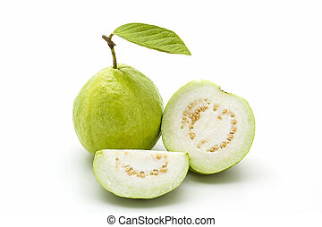 Guava on white background. Fruit with from tropical zone.