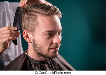 professional hairdressing salon - hairdresser does hair with...