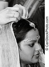 Hindu bride - A Hindu bride during a pre=wedding ceremony