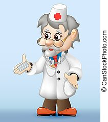 grizzled veteran doctor holding a pill
