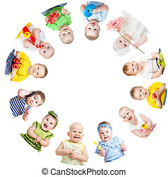 Group of smiling kids standing in huddle on white background...