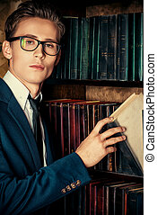 personal library - Close-up portrait of a respectable...