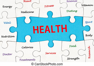 Health concept word cloud on group of jigsaw puzzle pieces
