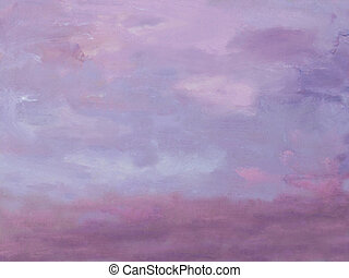 Sunset pictorial watercolor background in violet,pink and...