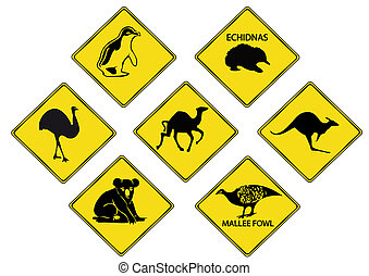 Australianos, amarillo, road-signs