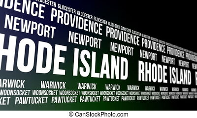 Rhode Island State and Major Cities - Animated scrolling...