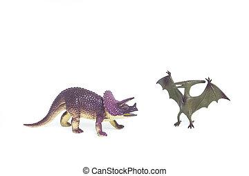 Triceratops, y, Pterosaur, dinosaur, ,