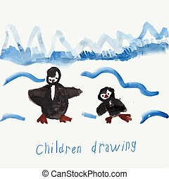 Childs Drawing Of Penguins, Eps 10 Vector Illustration