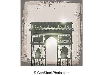 Arch of Triumph, Paris. Hand drawn vector illustration