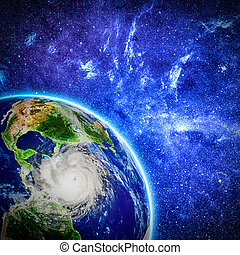 view on storm in Caribbean sea from space. Elements of this...