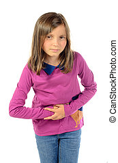 a girl has stomach ache on the white background