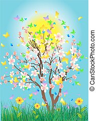 Spring tree, - composition of spring tree of butterflies