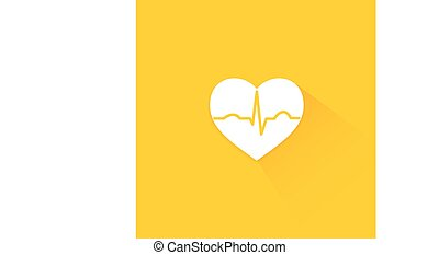 Yellow flat long shadow cardiology icon heart with beat