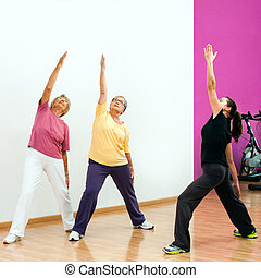 Senior women doing aerobic workout - Female fitness coach...