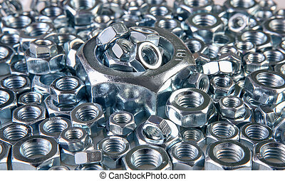 metal nuts - metal shine nuts on white background