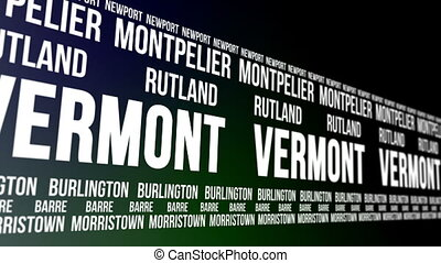 Vermont State and Major Cities - Animated scrolling banner...