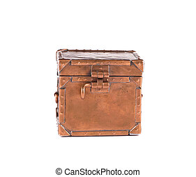 Old copper metal souvenir box. Isolated on a white...