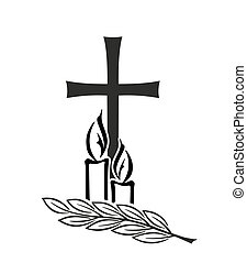 grief - decoration for funerals with cross and candles