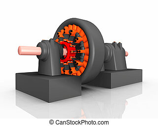 Electric Generator - Computer generated 3D illustration with...