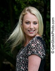 Lovely Girl Outdoor Portrait - Gorgeous young blond lady...