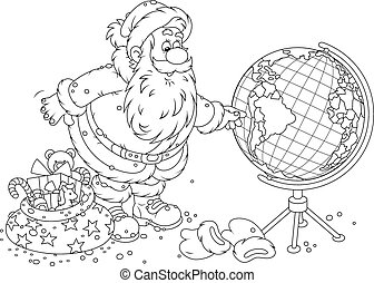 Santa Claus with a globe - Father Frost planning his route...