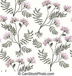 Valeriana seamless pattern - medicine for heart illustration