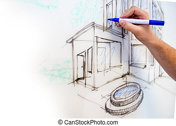 Whiteboard drawing - Man's hand creating a free drawing of a...