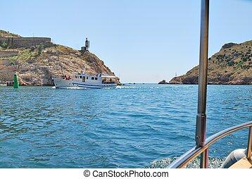 boat trip in the Crimea strait into port