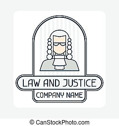 lei, e, justiça, companhia, nome, conceito, emblem.,