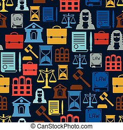 Law icons seamless pattern in flat design style