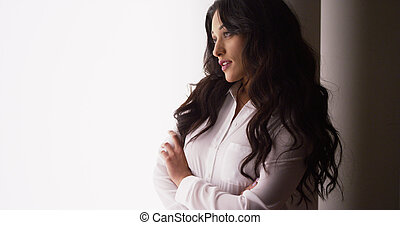 Mexican businesswoman looking at camera