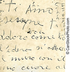 Close up of old italian letter, detail of manuscript...