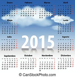 Calendar for 2015 year in Spanish with clouds