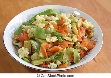 Chinese vegetable dish - Chinese asian stir fried assorted...