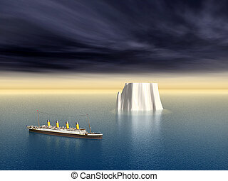 Ocean Liner and Iceberg - Computer generated 3D illustration...