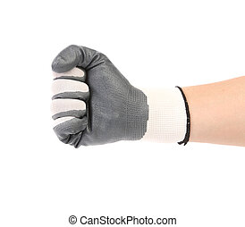 Worker hand glove clenching fist. Isolated on a white...