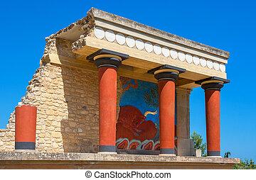 Palácio, de, Knossos., crete, Grécia,