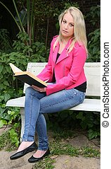Lovely Lady Reading Outdoors