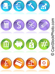 banking sticker - business financial web icon set