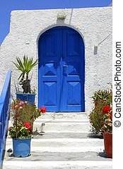 View of a Santorini door, Greece