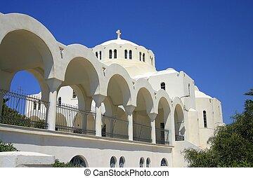 Orthodox Church with terrace fom Santorini