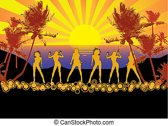 Sunset Beach Party - Flyer or poster for your beach party or...