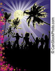 Beachparty at full moon - Flyer for your beach party or...